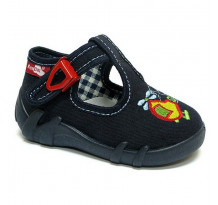Pantofi baietel, din material textil, bleumarin, cu motive elicopter brodat