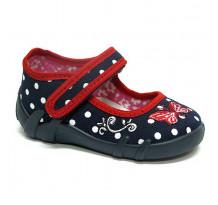 Papucei fetite, din material textil, bleumarin, cu bulinute albe si fluturasi