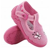 Papucei fetite, din material textil, roz, cu fluturasi