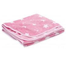 Paturica bebelusi, premium Cosy, 75 x 120 cm, roz cu motiv stelute