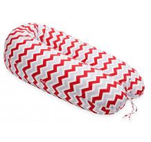 Perna Scamp 3 in 1 pentru gravide, alaptat, bebelusi, 150 cm, Zigzag Red Grey