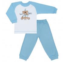 Pijama copii cu motiv ursuleti, alb cu albastru