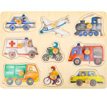 Puzzle lemn educativ cu maner, Vehicule