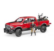 RAM 2500 Pickup si motocicleta cu figurina motociclist, Bruder