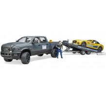 RAM 2500 Power Wagon cu trailer si masinuta roadster Bruder Racing Team