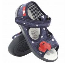 Sandale baietel, cu scai, din material textil, bleumarin, cu motiv