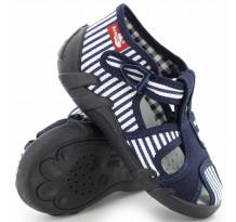 Sandale baietel, cu catarama, din material textil, bleumarin