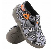 Sandale baietel, cu catarama, din material textil, gri, cu motiv fotbal