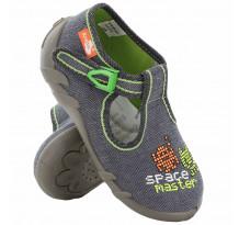 Sandale baietel, cu catarama, din material textil, gri, Space master