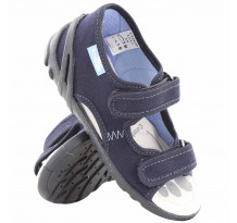 Sandale baietel cu scai, din material textil, bleumarin
