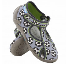 Sandale baietel, cu scai, din material textil, gri, cu motiv fotbal