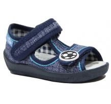 Sandale baietel, din material textil, albastru cu scai, cu motiv