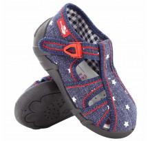Sandale baietel, din material textil, albastru inchis, cu motive stelute