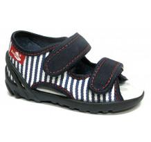 Sandale baietel, din material textil, bleumarin cu scai