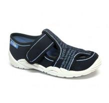 Sandale baietel, din material textil, bleumarin, cu scai