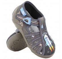 Sandale baietel, cu catarama, din material textil, gri, Space