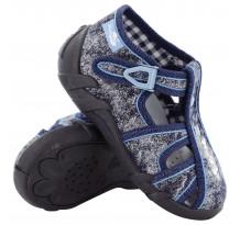 Sandale baietel, cu catarama, din material textil, cu motiv