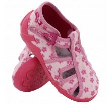 Sandale fetite cu catarama, din material textil, roz cu floricele