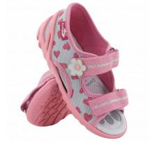 Sandale fetite cu scai, din material textil, roz-gri cu motive inimioare