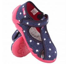Sandale fetite cu scai, din material textil, jeans cu stelute albe