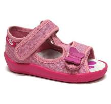 Sandale fetite cu scai, din material textil, roz cu fluturasi