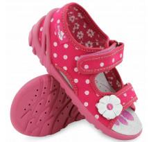 Sandale fetite, din material textil, cu scai, roz cu bulinute