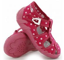 Sandale fetite, din material textil, roz, cu bulinute albe