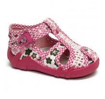 Sandale fetite, din material textil, roz deschis, cu catarama