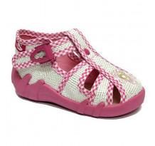 Sandale fetite, din material textil, roz deschis, cu motiv brodat