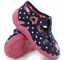 Sandale fetite, din material textil, bleumarin, cu bulinute albe si floricel