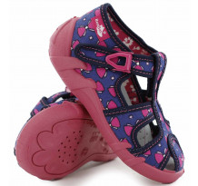 Sandale fetite, din material textil, albastru inchis, cu motive papion roz