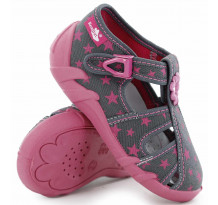Sandale fetite, din material textil, gri, cu motive stelute