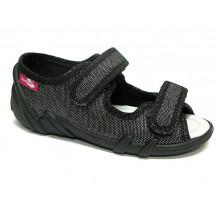 Sandale fetite su scai, din material textil, negru cu fir argintiu