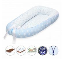 Cuib pentru bebelusi Scamp, Premium Baby Nest, cu saltea de cocos, 100% bumbac, antialergic, Blue Clouds Elephant