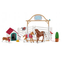Set figurine Schleich 42458 - Calul lui Hannah cu catelusa
