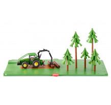 Set forestier cu tractor John Deere, Siku World