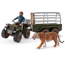 Set Schleich 42351, Padurar transportand un tigru cu ATV-ul