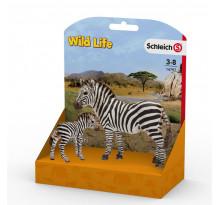 Set Wild Life Schleich 14797, Zebra si pui de zebra