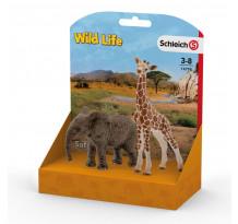 Set Wild Life Schleich 14798, Pui de Elefant si pui de Girafa