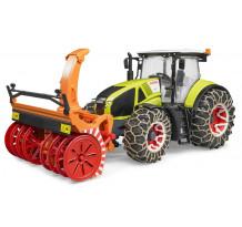 Tractor Claas Axion 950 cu lanturi pentru roti si freza de deszapezire, Bruder