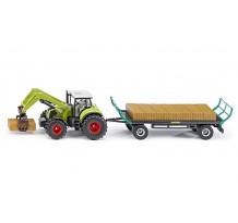 Tractor Claas Axion 850, cu incarcator frontal si remorca, Siku