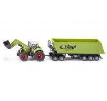 Tractor Claas Axion 850 cu remorca Fliegl, Siku
