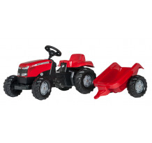 Tractor cu pedale si remorca Rolly Toys, RollyKid Massey Ferguson
