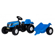 Tractor cu pedale Rolly Toys, New Holland T7040 cu remorca rollyKid