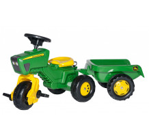 Tricicleta cu pedale si remorca Rolly Toys, rollyTrac John Deere
