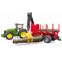 Tractor Bruder, John Deere 7930 cu remorca forestiera si 4 busteni