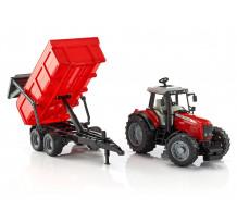 Tractor Massey Ferguson 7480 cu remorca basculanta, Bruder 02045
