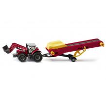 Tractor Massey Ferguson cu remorca conveior, Siku 1:50
