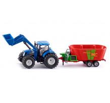 Tractor New Holland cu remorca Strautmann, Siku 1:50