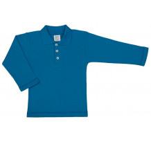 Tricou maneca lunga cu guler, albastru